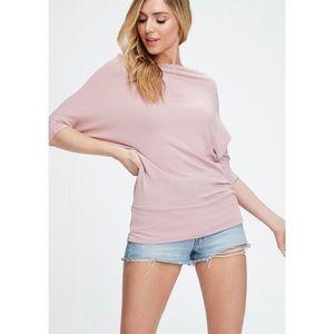JORDANA Light Pink Off Shoulder Dolman Knit Top